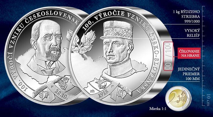 kilogramová strieborná medaila